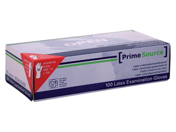 Handschoen PrimeSource Latex gepoederd Medium wit