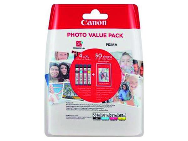 Inktcartridge Canon CLI-581XL 4 kleuren +50vel fotopap10x15cm