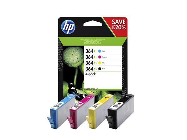 Inktcartridge HP N9J74AE 364XL zwart + 3 kleuren HC