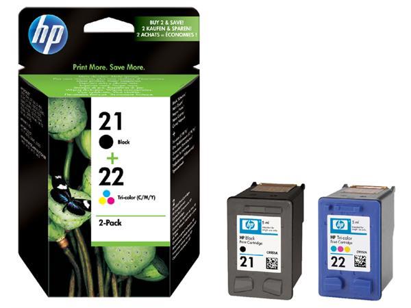 Inktcartridge HP SD367AE 21 + 22 zwart + kleur