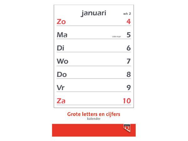 Kalender 2022 met grote letters en cijfers Quantore