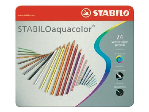 Kleurpotloden STABILO aquacolor 1624 blik à 24 kleuren