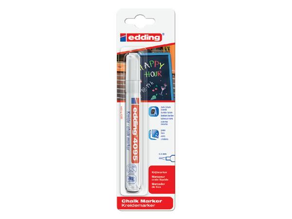 Krijtstift edding 4095 rond wit 2-3mm blister