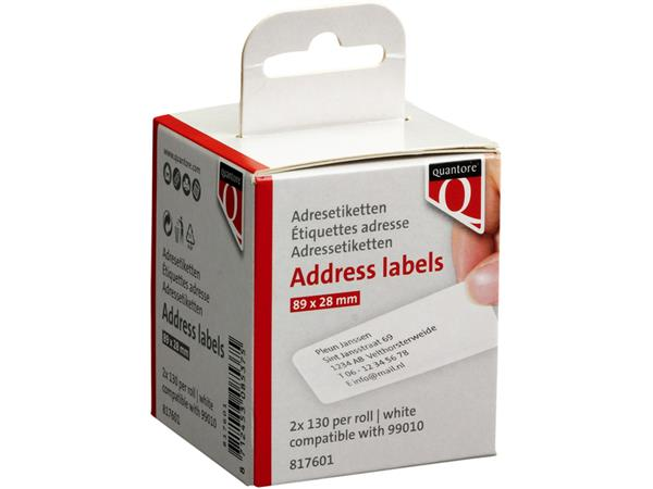 Labeletiket Quantore 99010 89x28mm adres wit