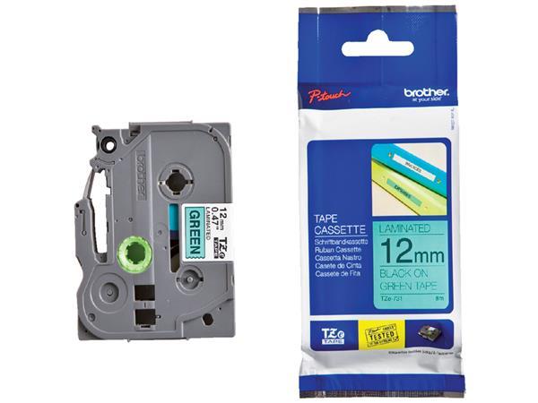 Labeltape Brother P-touch TZE-731 12mm zwart op groen