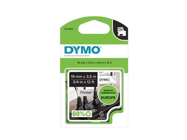 Labeltape Dymo 16954 D1 718050 19mmx3.5m nylon zwart op wit