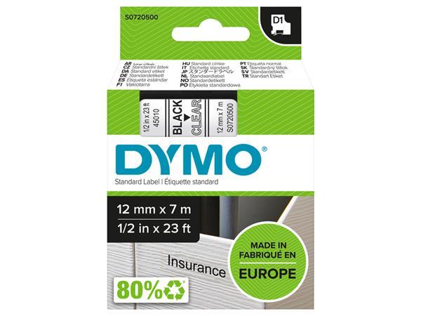 LABELTAPE DYMO 45010 12MMX7M D1 TR/ZWART