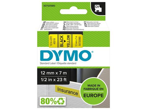 Labeltape Dymo 45018 D1 720580 12mmx7m zwart op geel