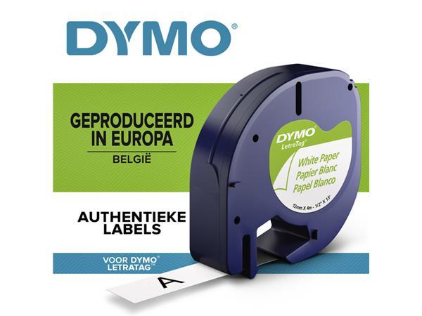 Labeltape Dymo Letratag 91200 papier 12mm zwart op wit