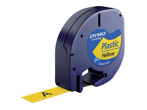 Labeltape Dymo Letratag 91202 plastic 12mm zwart op geel