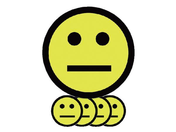MAGNEET SMILEY 2.5CM EMOTIE NEUTRAAL GEEL