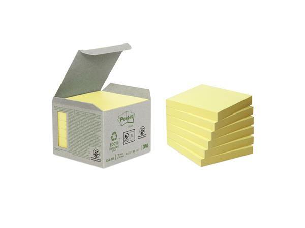 Memoblok 3M Post-it 654-1B 76x76mm 6 stuks recycled geel