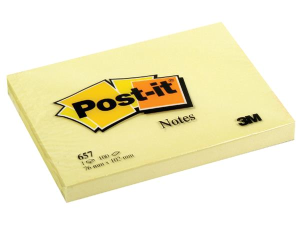 MEMOBLOK 3M POST-IT 657 76X102MM GEEL