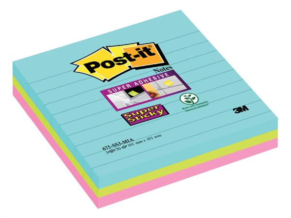 Memoblok 3M Post-it 675-SSMI Super Sticky 101x101mm lijn Miami