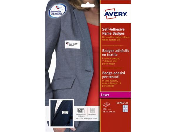 Naambadge etiket Avery L4784-20 63.5x29.6mm zk 540stuks