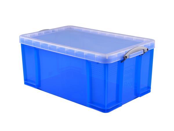 Opbergbox+Really+Useful+64+liter+710x440x310+mm+transparant+blauw