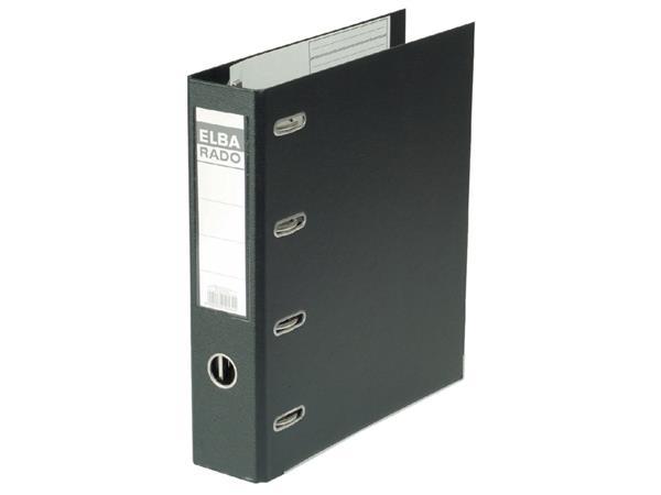 Ordner Elba Rado Plast 75mm bank 2 mechanieken zwart PVC