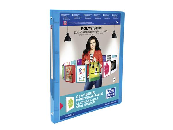 Presentatieringband Oxford Polyvision A4 4-rings O-mech 15mm blauw