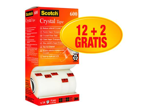 plakband scotch crystal 600 19mmx33m transparant 12+2 gratis