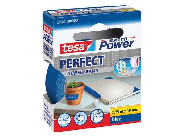 Plakband Tesa textiel 19mmx2.75m blauw