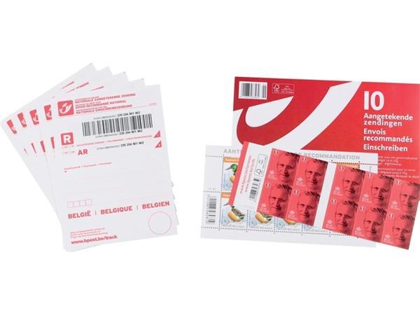 Postzegel Belgie aangetekend kit 10 stuks