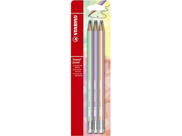 Potlood STABILO grafiet Swano HB met gumtip pastel etui à 6 kleuren
