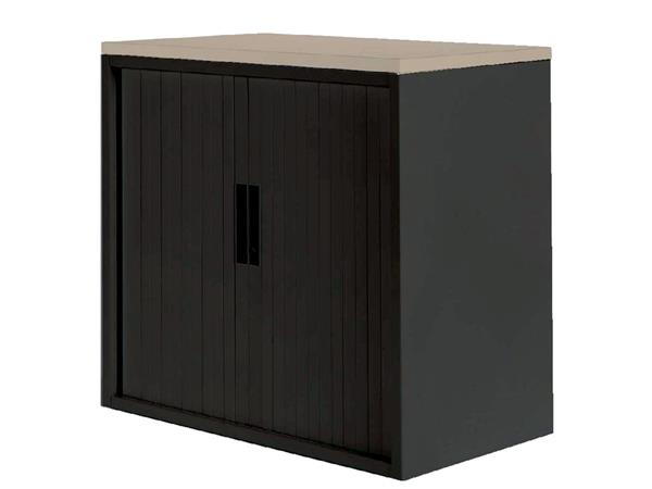 Roldeurkast 20H zwart met topblad eiken