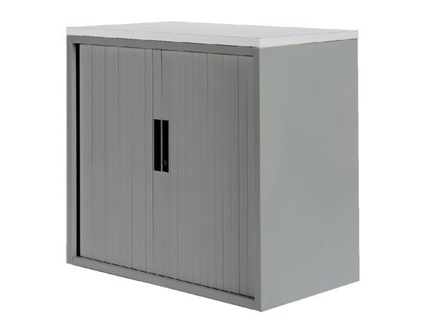 Roldeurkast 20H aluminiumlook met topblad wit