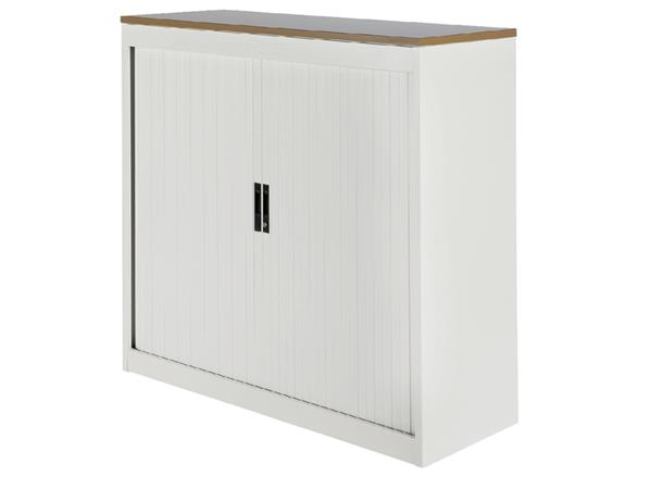 Roldeurkast 20H wit met topblad noten