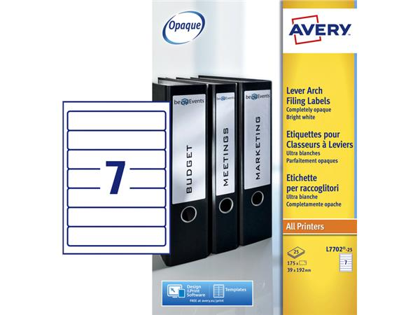 RUGETIKET AVERY L7702-25 192X39MM 175ST