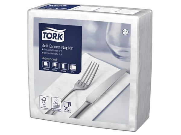Servetten Tork 477579 Soft dinner 3laags 39x39cm wit 100st.