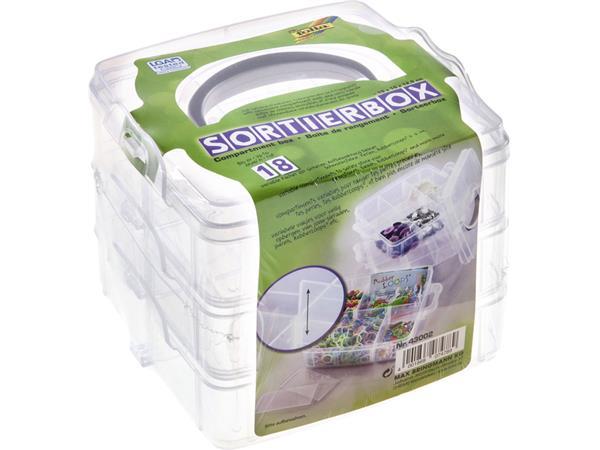 Sorteerbox Folia stapelbaar 18 delig 150x150x125mm transparant