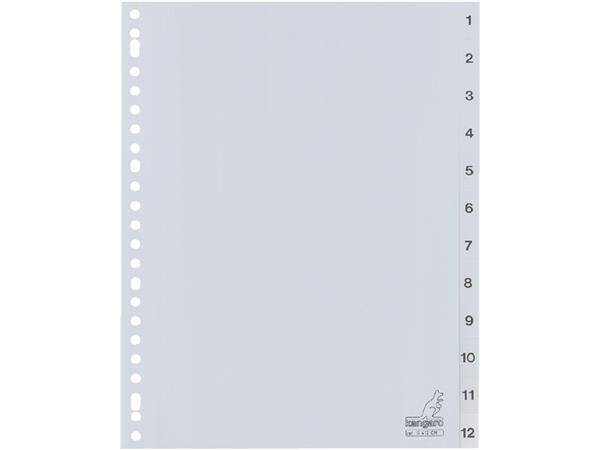 Tabbladen Kangaro 23-gaats G412CM 1-12 genummerd grijs PP