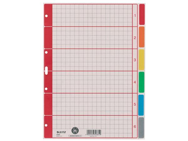 Tabbladen Leitz 4-gaats 4350 6-delig grijs karton