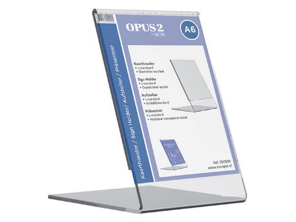 Kaarthouder+OPUS+2+L-standaard+A6+staand+acryl