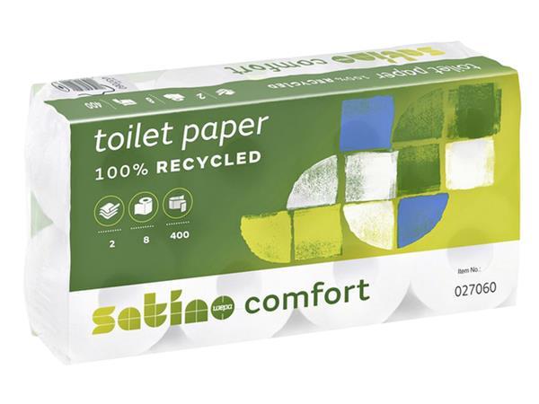 TOILETPAPIER+SATINO+COMFORT+2-LAAGS+400VEL+WIT+8ROLLEN