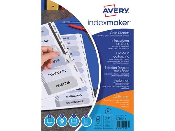 Tabbladen Avery Indexmaker 9-gaats 6-delig wit