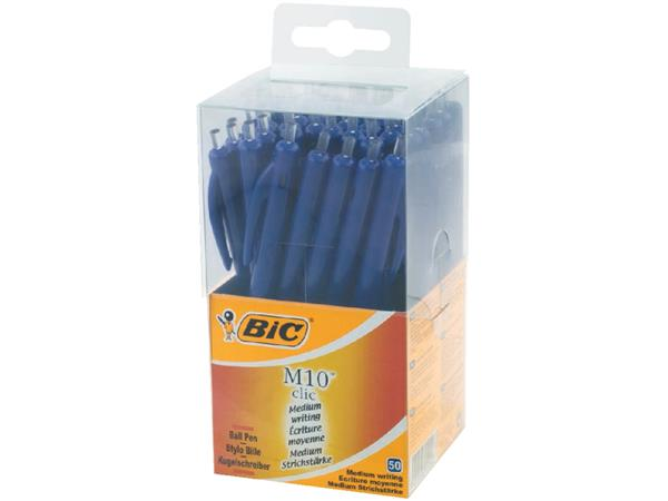 BALPEN BIC M10 CLIC M BLAUW IN PLASTIC DOOS