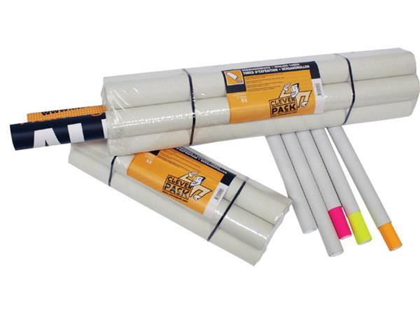 Verzendkoker CleverPack A1 +doppen 630x50x1.5 wit 5stuks