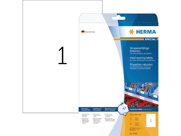 ETIKET HERMA 4698 WEERSBESTENDIG A4 210X297MM 25ST