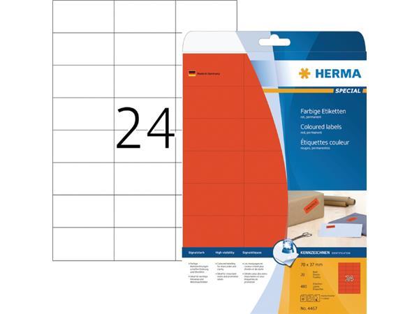 ETIKET HERMA 4467 70X37MM ROOD 480ST