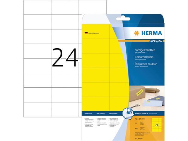 ETIKET HERMA 4466 70X37MM GEEL 480ST