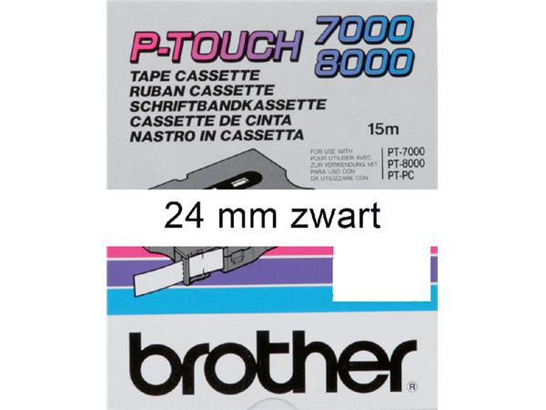 Labeltape Brother P-touch TX-251 24mm zwart op wit