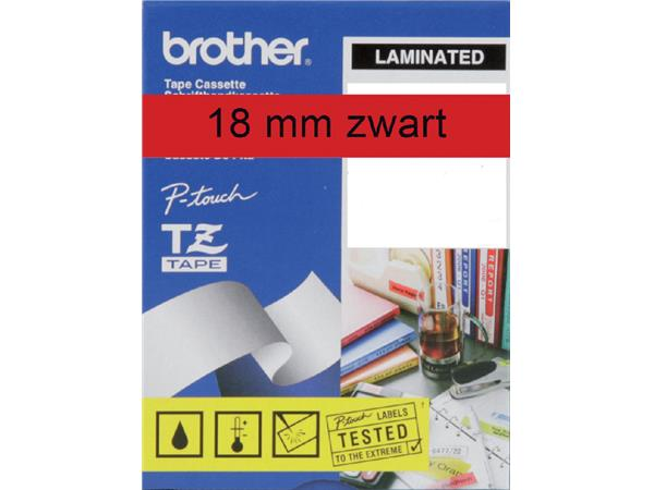LABELTAPE BROTHER TZE-441 18MMX8M ROOD/ZWART