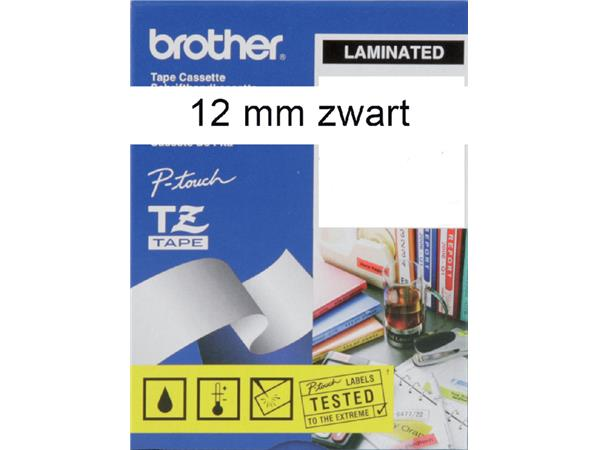 LABELTAPE BROTHER TZE-N231 12MMX8M WIT/ZWART