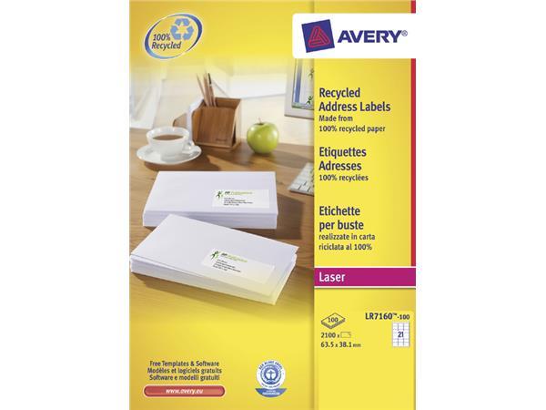 ETIKET AVERY LR7160-100 63.5X38.1MM 2100ST RECY