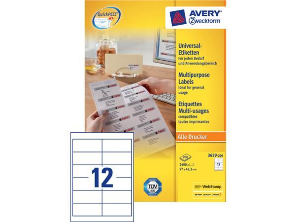 Etiket Avery Zweckform 3659 97x42.3mm wit 2400stuks