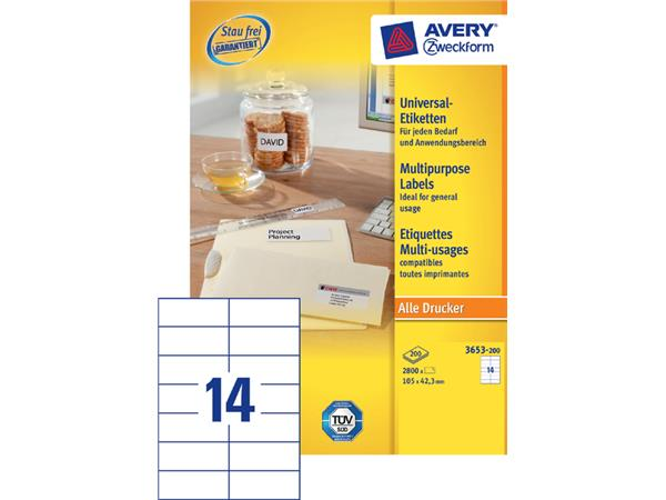 Etiket Avery Zweckform 3653 105x42.3mm wit 2800stuks