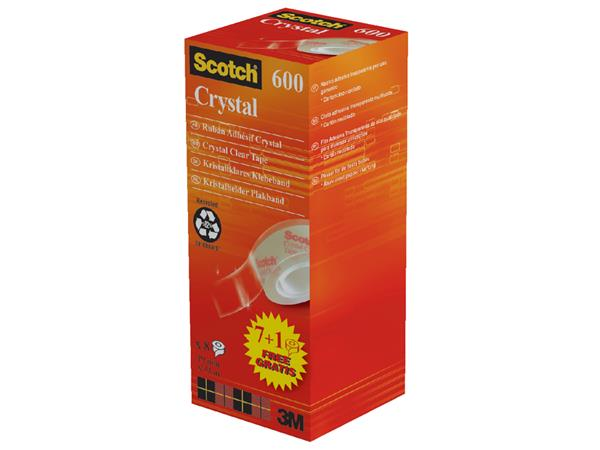 Plakband Scotch Crystal 600 19mmx33m 7+1 gratis