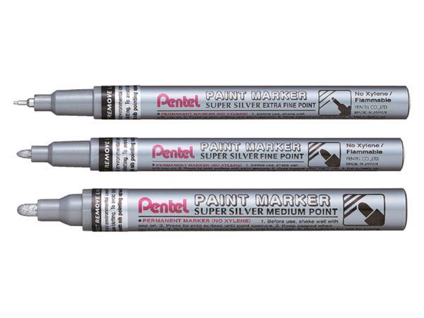 viltstift Pentel MFP10 ronde punt 0.7mm zilver